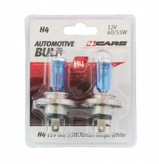 4CARS 12V H4 60/55W XENON MEGA WHITE 2KS (DOUBLE BLISTER)