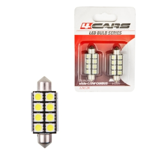 4CARS LED ŽIAROVKA 8LED 12V FESTOON CANBUS 5050SMD T11X42MM - pár